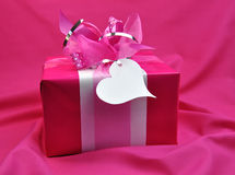 Bright Pink Valentine or Christmas Present Stock Photos