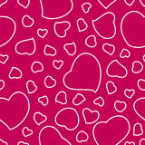 Bright Pink Valentine's Day Background With Hearts Seamless Pattern Stock Photos