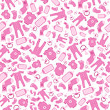 Bright pink vector baby born seamless pattern Stock Photos