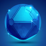 Bright pixilated dimensional sphere with flash, sparkling 3d geo Royalty Free Stock Photo