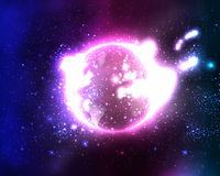 Bright planet in outer sky Royalty Free Stock Photos