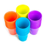 Bright plastic cups isolated on white Stock Photography