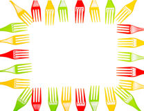 Bright plastic forks laid out in form rectangular frame isolated. Royalty Free Stock Images