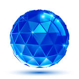Bright plastic radiance 3d eps10 spherical object. With sparkles created from triangles. Pixilated shiny globe Royalty Free Stock Photos