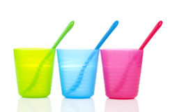 Bright plastic tableware, Royalty Free Stock Photography