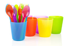 Bright plastic tableware Stock Photo