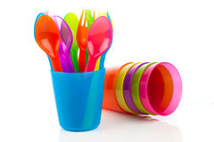 Bright plastic tableware Royalty Free Stock Image