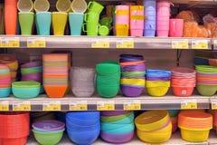 Bright plastic tableware Stock Images