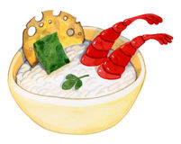 Bright plate with white plus rice seaweed shrimp Stock Image