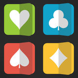 Bright playing cards suits icons set in clean Stock Images