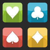 Bright playing cards suits icons set in modern Royalty Free Stock Image
