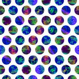 Bright polka dot abstract grunge colorful splashes texture watercolor seamless pattern design in blue. Green, pink colors palette on white background Stock Photography