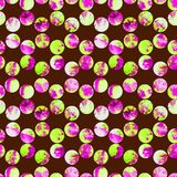 Bright polka dot abstract grunge colorful splashes texture watercolor seamless pattern design in emerald green, pink. Colors palette on brown background Stock Photography