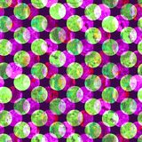 Bright polka dot abstract grunge colorful splashes texture watercolor seamless pattern design in green, pink, purple. Colors palette on dark background Stock Photos