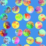 Bright polka dot abstract grunge colorful splashes texture watercolor seamless pattern design in yellow, blue. Bright polka dot abstract grunge colorful splashes Royalty Free Stock Photo