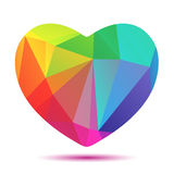 Bright polygonal rainbow heart Stock Images