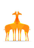 Bright polygons giraffes silhouettes Stock Image