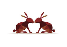 Bright polygons rabbits silhouettes. Color rabbits silhouettes of bright polygons Stock Photos