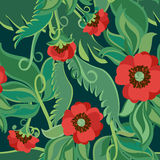 Bright Poppies Seamless Background Stock Image