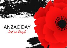 A bright poppy flower. Remembrance day symbol. Lest we forget lettering. Anzac day poster with hand draw ink stock illustration