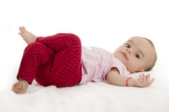 Bright portrait of adorable baby on white Stock Photos