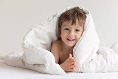 Bright portrait of adorable cute little boy stock images