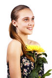 Bright portrait of beautiful woman holding flower Royalty Free Stock Photos