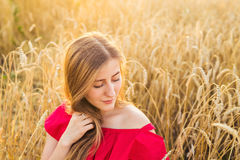 Bright Portrait of Happy Young Woman at Summer Field.  Royalty Free Stock Image