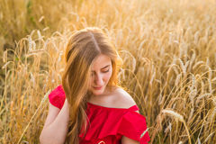 Bright Portrait of Happy Young Woman at Summer Field.  Royalty Free Stock Photo
