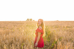 Bright Portrait of Happy Young Woman at Summer Field.  Stock Photography