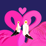 Bright portraits of pink lovers of flamingos. On a blue background stock illustration