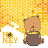 Bright Postcard with a bear and honey Royalty Free Stock Image
