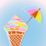 Bright postcard with ice cream Royalty Free Stock Image