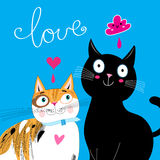 Bright Postcard with love cats Royalty Free Stock Image
