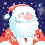 Bright Postcard New Years Portrait Of Santa Claus Stock Photo