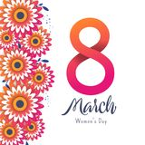 Bright postcard on the 8th of March. Bright flyer with the decor of paper cut flowers. Women`s Day. Trendy Design Template. Vector illustration Stock Photography