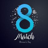 Bright postcard on the 8th of March. Bright flyer with the decor of paper cut flowers. Women`s Day. Trendy Design Template. Vector illustration vector illustration