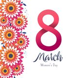 Bright postcard on the 8th of March. Bright flyer with the decor of paper cut flowers. Women`s Day. Trendy Design Template. Vector illustration royalty free illustration