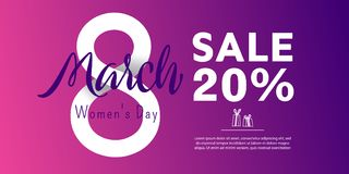Bright postcard on the 8th of March. Bright flyer with the decor of paper cut flowers. Women`s Day. Trendy Design Template. Vector illustration stock illustration