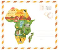 Free Bright Postcard With Map Of Africa With Famous Destinations And Animals Royalty Free Stock Image - 182328546