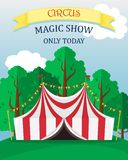 Bright poster circus performance with a tent. royalty free illustration