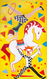 The bright poster of circus. On yellow background Royalty Free Stock Photo