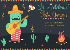 Bright poster for Festa Junina with happy cactus. Bright poster for Festa Junina with happy caactus in sombrero Royalty Free Stock Photography