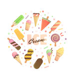 Bright poster with ice cream Royalty Free Stock Photography