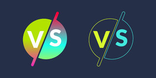 Bright poster symbols of confrontation VS, can be the same logo. Vector illustration Stock Photo