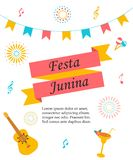 Bright poster for Festa Junina. Bright poster temlate with colorful elements for Festa Junina stock illustration