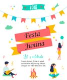 Bright poster for Festa Junina. Bright poster temlate with colorful elements and minimalistic people for Festa Junina Stock Photos