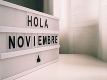 Bright poster to welcome November in Spanish royalty free stock images