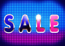 Bright premise sales - Invitation to the sale. Bright premise sales.The word sale on a bright background. Blue and purple colors. Place for text Royalty Free Stock Photography