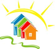 Bright premises. Vector illustration of the solar city Royalty Free Stock Image